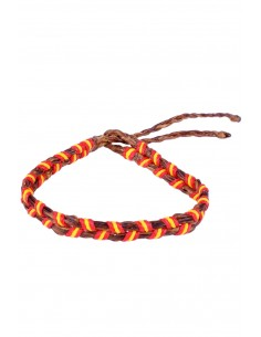 Bracelet 2 Cords Waxed brown with the Spain Flag