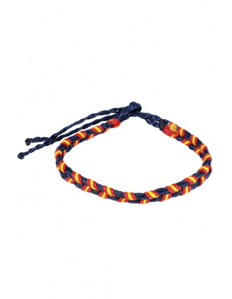 Bracelet 2 Cords Waxed Blue with the Spain Flag