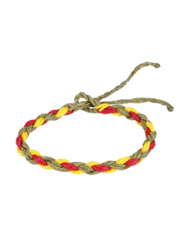 Braided green Waxed Thread Bracelet with the Spanish Flag