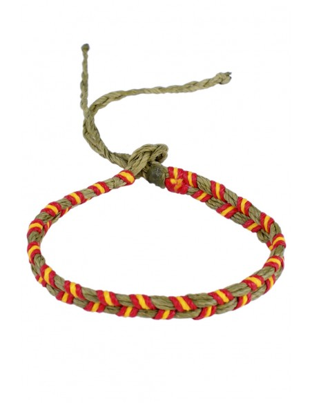 Bracelet 2 Cords Waxed green with the Spain Flag