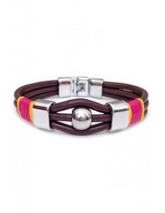 Brown Leather 3-String Capote Bracelet