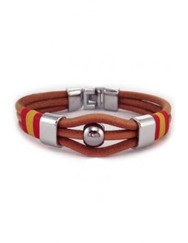 Leather 3 Cord Bracelet Spain Flag