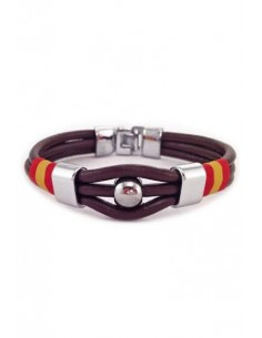 Brown Leather 3 Cord Bracelet Spain Flag
