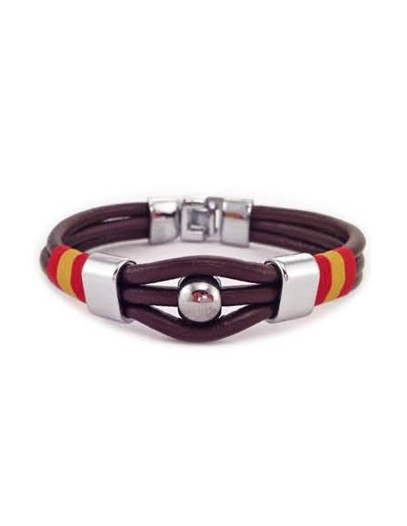 Brown Leather 3 Cord Bracelet Spain Flag