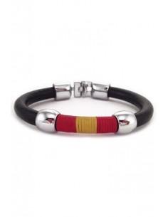Leather Cord Bracelet with Spanish Flag Thread