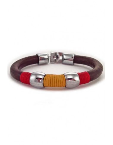 Leather Cord Bracelet with Spanish Flag Thread