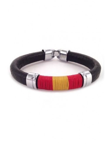 Brown Leather Bracelet with Spanish Flag Thread