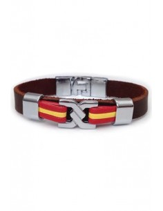 Brown Leather Bracelet Sailor Knot Flag Spain