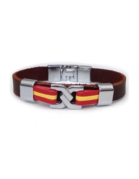 Brown Leather Bracelet Sailor Knot Flag Spain