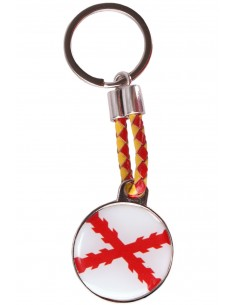 Round keychain Burgundy Cross