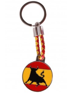 Spanish Flag with a Bull Key Ring