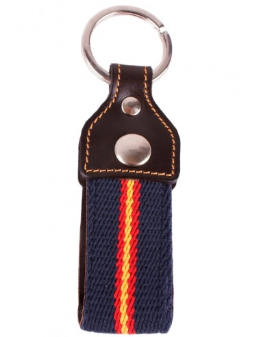Keychain Canvas Navy Blue with Leather Flag Spain