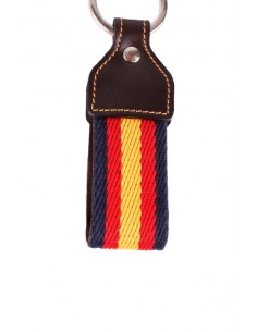 Llavero Loneta Azul Marino con Cuero Bandera España