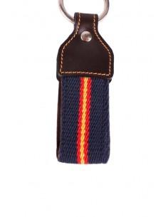 Keychain Canvas Navy Blue with Leather Flag Spain