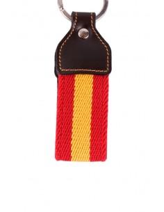 Leather Canvas Keychain Spain Flag