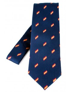 Navy blue tie in natural silk with flags of Spain.