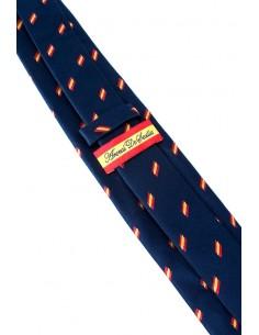 Corbata Azul Marina con Banderitas España a Trazos