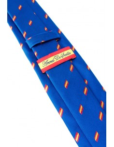 Azulona tie in natural silk with flags of Spain.