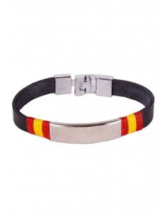 Black Leather Bracelet Ornament Steel Flag Spain