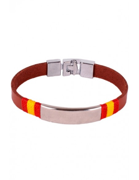 Brown Leather Bracelet Ornament Steel Flag Spain