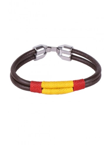 Leather Cord Double Cord Bracelet with Spanish Flag Thread in the Center