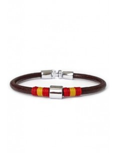 Brown Leather Bracelet with thread ornament and 1 trimmings with Detail of the Flag of Spain