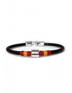 Black Leather Bracelet with thread ornament and 1 trimmings with Detail of the Flag of Spain