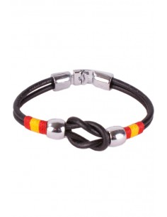 Black Leather Strap Bracelet with Sailor Knot Flag Spain