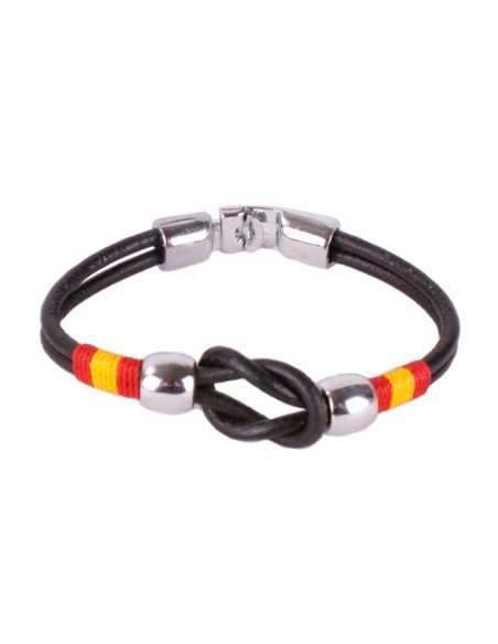 Black Leather Strap Bracelet with Sailor Knot Flag Spain