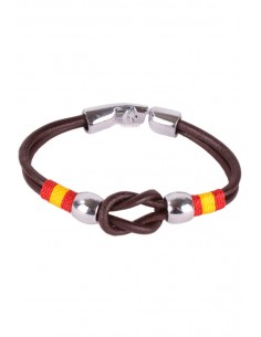Brown Leather Strap Bracelet with Sailor Knot Flag Spain