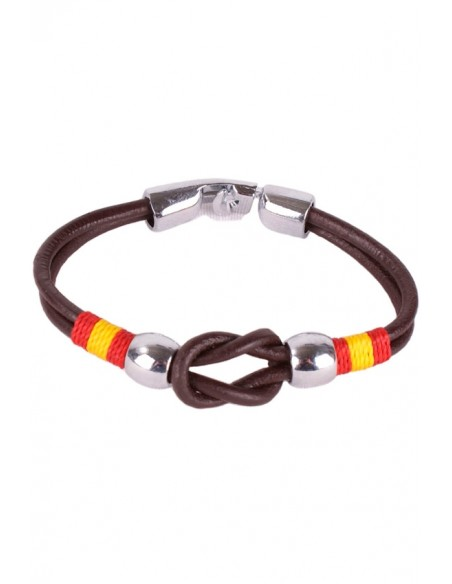 Brown Leather Strap Bracelet with Sailor Knot Flag Spain