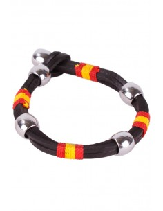 Chocolate Brown Leather Bracelet and thread with Detail of the Flag of Spain