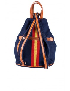 Blue canvas backpack with Detail of the Flag of Spain