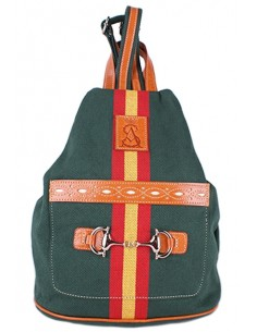 Green canvas backpack with Detail of the Flag of Spain