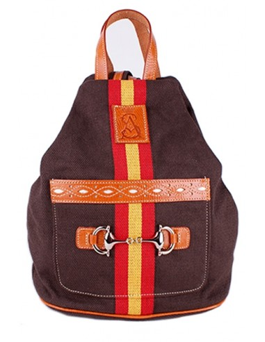 brown canvas backpack with Detail of the Flag of Spain