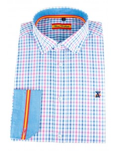 Pink-Light Blue Check Shirt Flag Spain