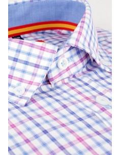 Pink-Light Blue Check Shirt Flag Spain