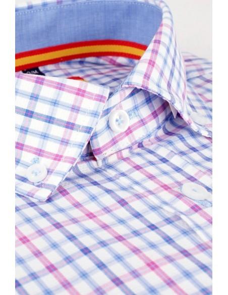 Camisa Cuadros Rosa-Celeste Bandera España