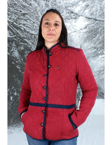 Red Women's Parka with Elbow Patches