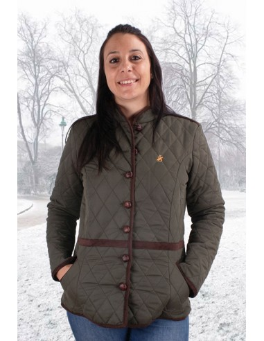 Green Women's Parka with Elbow Patches