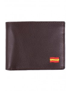 Brown Leather Wallet Spain Flag