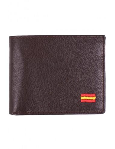 Brown Leather Wallet Spain Flag