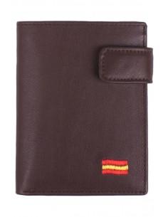Cartera de Piel Marrón Bandera España con Bolsillo