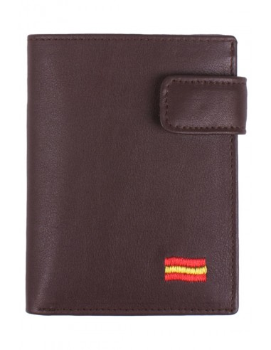 Brown Leather Wallet Spain Flag with Pocket