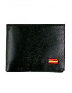 Black Leather Wallet Spain Flag