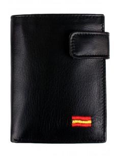 Cartera de Piel Negra Bandera España con Bolsillo