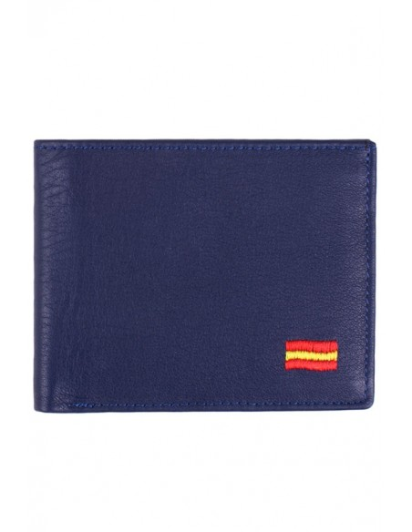 Blue Leather Wallet Spain Flag