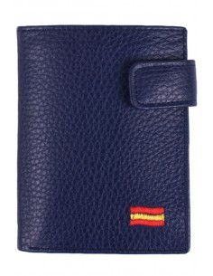 Blue Leather Wallet Spain Flag with Pocket