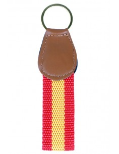 Spanish Flag Leather and Canvas Key Ring