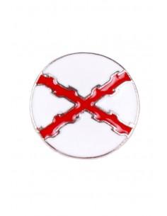 Pin Aspa Cruz Borgoña Redondo